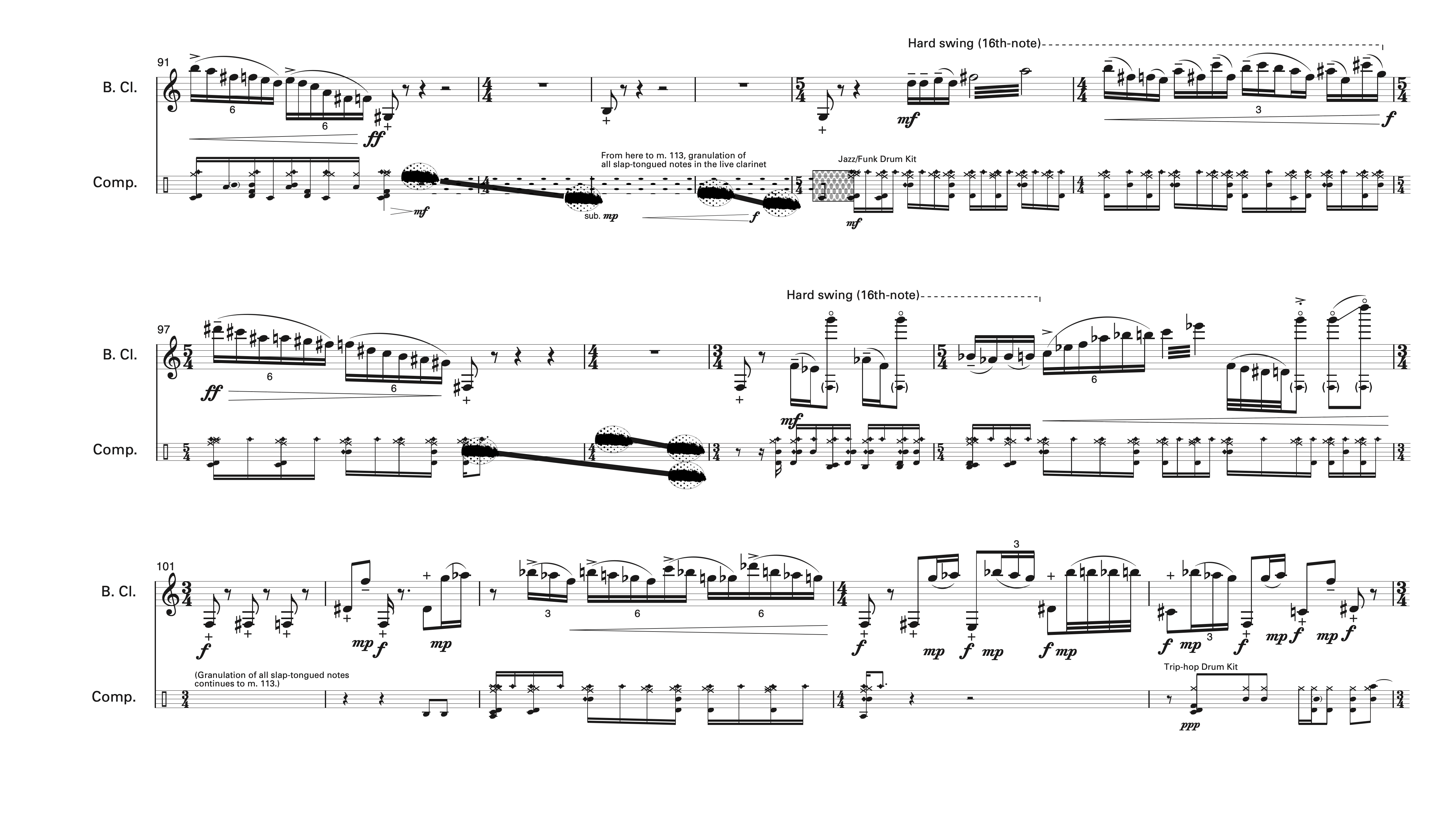 One page of the score to Quirk for Bass Clarinet and Computer